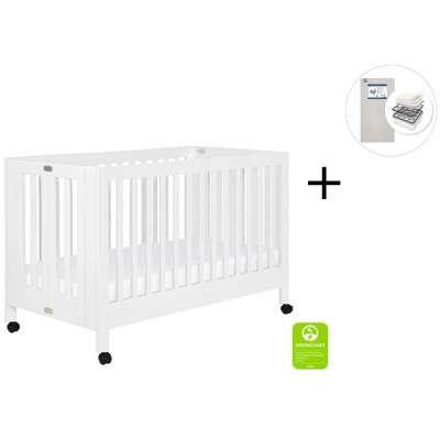 Babyletto Maki Full-Size Folding Crib with Toddler Bed Conversion Kit with Start Super Firm Mattress - White Finish