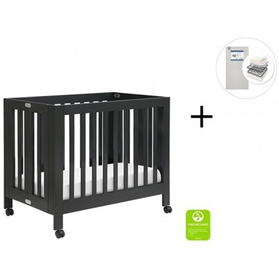Babyletto Origami Mini Crib with Start Super Firm Mattress - Black Finish