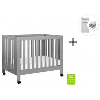 Babyletto Origami Mini Crib with Start Super Firm Mattress - Grey Finish