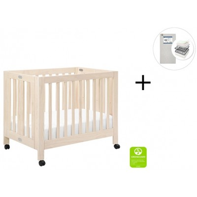 Babyletto Origami Mini Crib with Start Super Firm Mattress - Washed Natural