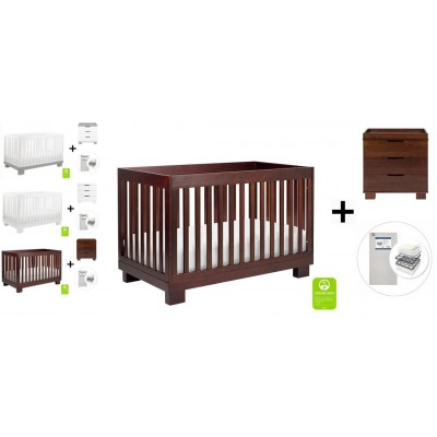 Babyletto Modo 3-in-1 Convertible Crib, Toddler Bed Conversion Kit, 3-Drawer Changer Dresser and Removable Changing Tray with Start Super Firm Mattress