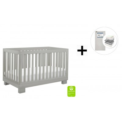 Babyletto Modo 3-in-1 Convertible Crib, Toddler Bed Conversion Kit with Start Super Firm Mattress - Grey Finish