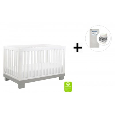 Babyletto Modo 3-in-1 Convertible Crib, Toddler Bed Conversion Kit with Start Super Firm Mattress - Grey and White