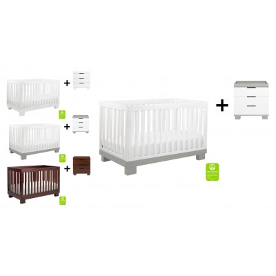 Babyletto Modo 3-in-1 Convertible Crib, Toddler Bed Conversion Kit with 3-Drawer Changer Dresser and Removable Changing Tray