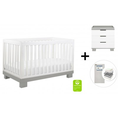 Babyletto Modo 3-in-1 Convertible Crib, Toddler Bed Conversion Kit, 3-Drawer Changer Dresser and Removable Changing Tray with Start Super Firm Mattress - Grey and White