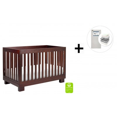 Babyletto Modo 3-in-1 Convertible Crib, Toddler Bed Conversion Kit with Start Super Firm Mattress - Espresso Finish
