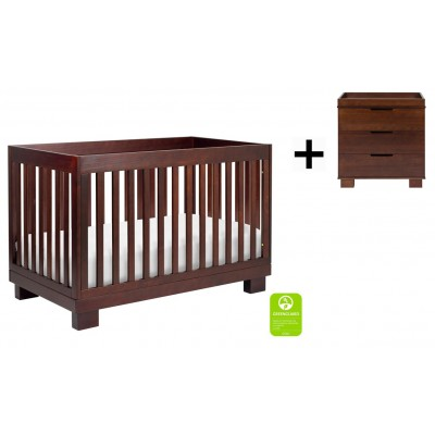 Babyletto Modo 3-in-1 Convertible Crib, Toddler Bed Conversion Kit with 3-Drawer Changer Dresser and Removable Changing Tray - Espresso Finish