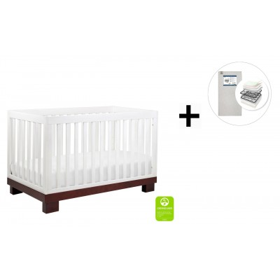 Babyletto Modo 3-in-1 Convertible Crib, Toddler Bed Conversion Kit with Start Super Firm Mattress - Espresso/White