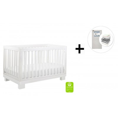 Babyletto Modo 3-in-1 Convertible Crib, Toddler Bed Conversion Kit with Start Super Firm Mattress - White Finish