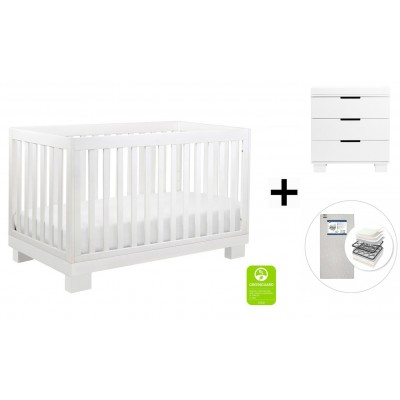 Babyletto Modo 3-in-1 Convertible Crib, Toddler Bed Conversion Kit, 3-Drawer Changer Dresser and Removable Changing Tray - White Finish