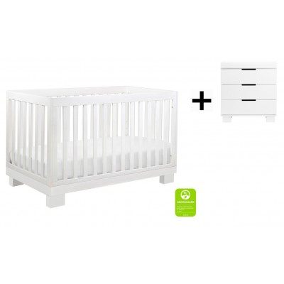 Babyletto Modo 3-in-1 Convertible Crib, Toddler Bed Conversion Kit with 3-Drawer Changer Dresser and Removable Changing Tray - White Finish