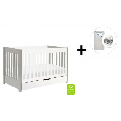 Babyletto Mercer 3-in-1 Convertible Crib, Toddler Bed Conversion Kit with Start Super Firm Mattress - Grey and White