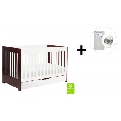 Babyletto Mercer 3-in-1 Convertible Crib, Toddler Bed Conversion Kit with Start Super Firm Mattress - Espresso/White