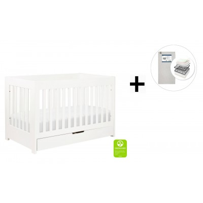 Babyletto Mercer 3-in-1 Convertible Crib, Toddler Bed Conversion Kit with Start Super Firm Mattress - White Finish
