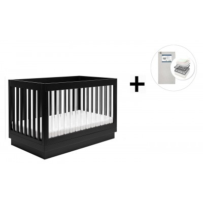 Babyletto Harlow 3-in-1 Convertible Crib, Toddler Bed Conversion Kit with Start Super Firm Mattress - Black/Acrylic