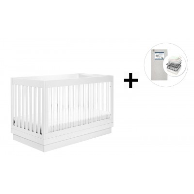 Babyletto Harlow 3-in-1 Convertible Crib, Toddler Bed Conversion Kit with Start Super Firm Mattress - White/Acrylic