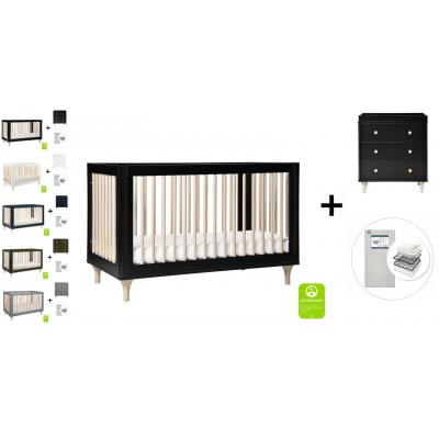 Babyletto Lolly 3-In-1 Convertible Crib, Toddler Bed Conversion, 3-Drawer Changer Dresser and Removable Changing Tray with Start Super Firm Mattress