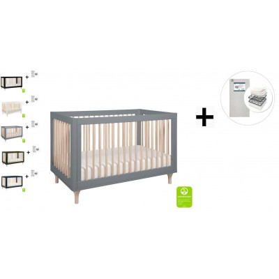 Babyletto Lolly 3-In-1 Convertible Crib, Toddler Bed Conversion with Start Super Firm Mattress