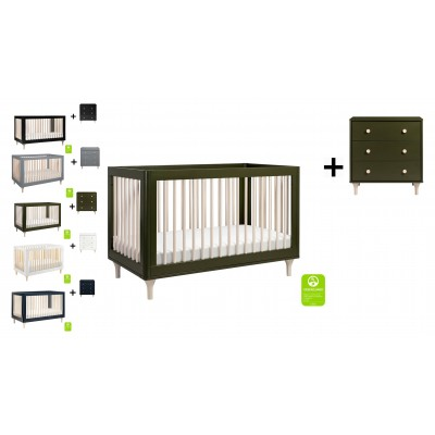 Babyletto Lolly 3-In-1 Convertible Crib, Toddler Bed Conversion with 3-Drawer Changer Dresser and Removable Changing Tray