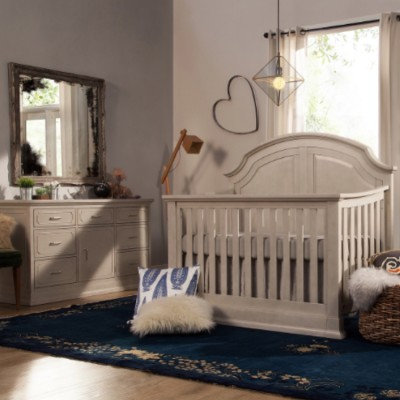 Million Dollar Baby Oliver 4-in-1 Convertible Crib with Deluxe Double Wide Dresser