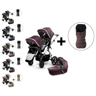 Silver Cross Wave Double Stroller and FREE Premium Footmuff