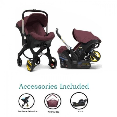 Doona Infant Car Seat Stroller with Base, All Day Bag & Sunshade Extension - Cherry (Burgundy)