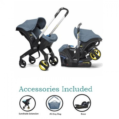 Doona Infant Car Seat Stroller with Base, All Day Bag & Sunshade Extension - Marine Navy