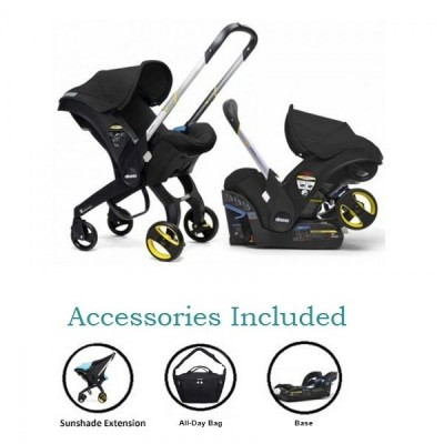 Doona Infant Car Seat Stroller with Base, All Day Bag & Sunshade Extension - Black Night