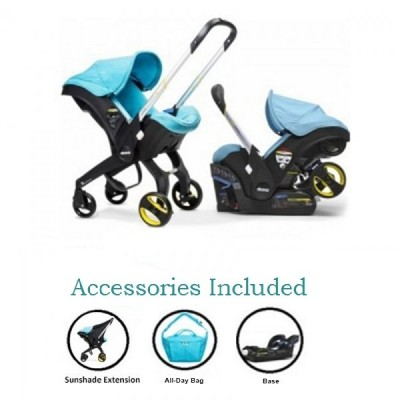 Doona Infant Car Seat Stroller with Base, All Day Bag & Sunshade Extension - Turquoise Sky