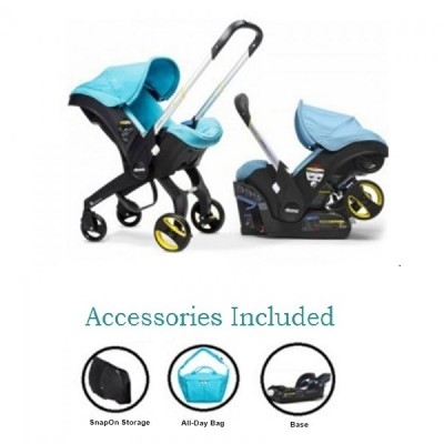 Doona Infant Car Seat Stroller with Base, Raincover, Sunshade Extension and SnapOn Storage - Turquoise Sky