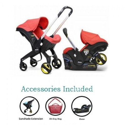 Doona Infant Car Seat Stroller with Base, All Day Bag & Sunshade Extension - Red Love