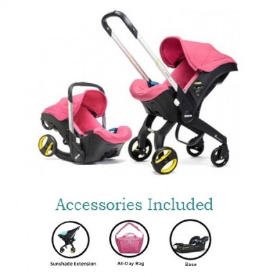Doona Infant Car Seat Stroller with Base, All Day Bag & Sunshade Extension - Pink Sweet