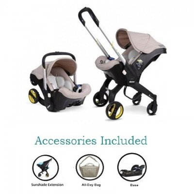 Doona Infant Car Seat Stroller with Base, All Day Bag & Sunshade Extension - Beige