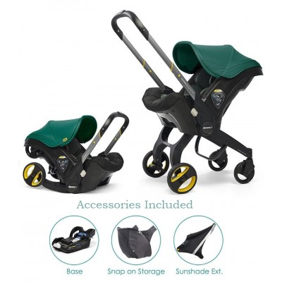 Doona Infant Car Seat with Base, Sunshade Extension and SnapOn Storage - Racing Green