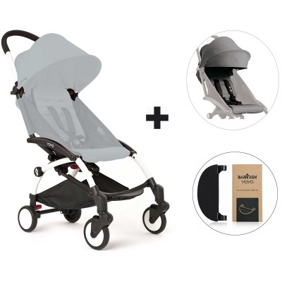 BabyZen YoYo+ Stroller with Color Pack and Adjustable Footrest - White/Grey/Black