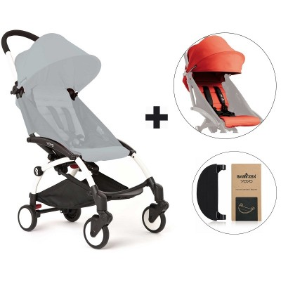 BabyZen YoYo+ Stroller with Color Pack and Adjustable Footrest - White/Red/Black