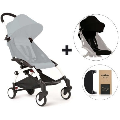 BabyZen YoYo+ Stroller with Color Pack and Adjustable Footrest - White/Black/Black