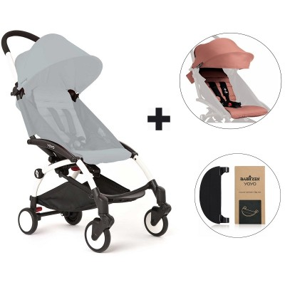BabyZen YoYo+ Stroller with Color Pack and Adjustable Footrest - White/Ginger/Black