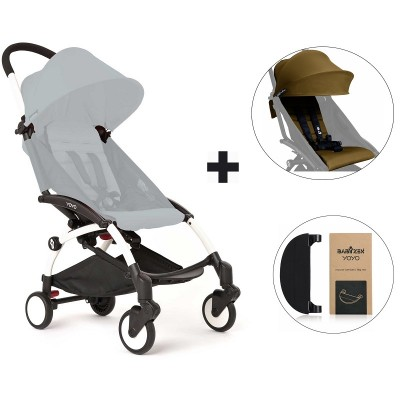 BabyZen YoYo+ Stroller with Color Pack and Adjustable Footrest - White/Toffee/Black