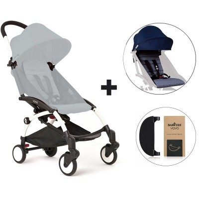 BabyZen YoYo+ Stroller with Color Pack and Adjustable Footrest - White/Air France Blue/Black