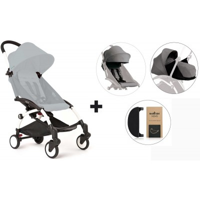 BabyZen YoYo+ Stroller with 0+ Newborn Pack, Color Pack and Adjustable Footrest - White/Grey/Grey/Black