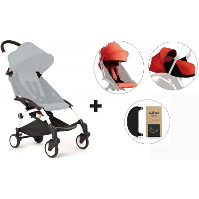 BabyZen YoYo+ Stroller with 0+ Newborn Pack, Color Pack and Adjustable Footrest - White/Red/Red/Black