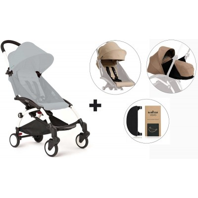 BabyZen YoYo+ Stroller with 0+ Newborn Pack, Color Pack and Adjustable Footrest - White/Taupe/Taupe/Black