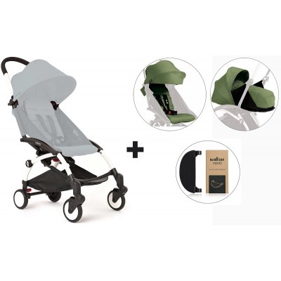 BabyZen YoYo+ Stroller with 0+ Newborn Pack, Color Pack and Adjustable Footrest - White/Peppermint/Peppermint/Black