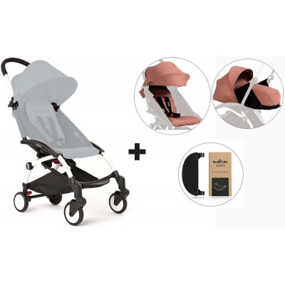 BabyZen YoYo+ Stroller with 0+ Newborn Pack, Color Pack and Adjustable Footrest - White/Ginger/Ginger/Black