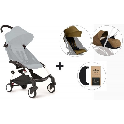 BabyZen YoYo+ Stroller with 0+ Newborn Pack, Color Pack and Adjustable Footrest - White/Toffe/Toffe/Black