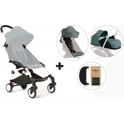 BabyZen YoYo+ Stroller with 0+ Newborn Pack, Color Pack and Adjustable Footrest - White/Aqua/Aqua/Black