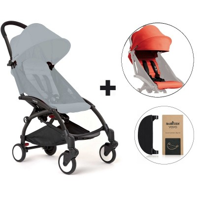 BabyZen YoYo+ Stroller with Color Pack and Adjustable Footrest - Black/Red/Black