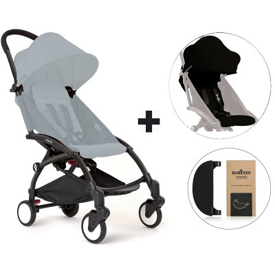 BabyZen YoYo+ Stroller with Color Pack and Adjustable Footrest - Black/Black/Black