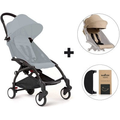 BabyZen YoYo+ Stroller with Color Pack and Adjustable Footrest - Black/Taupe/Black